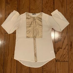 Express Cream and Gold Blouse